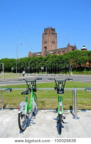 Liverpool Anglican Cathedral and hire bikes.