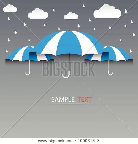 Umbrella Blue And Rain, Background Vector