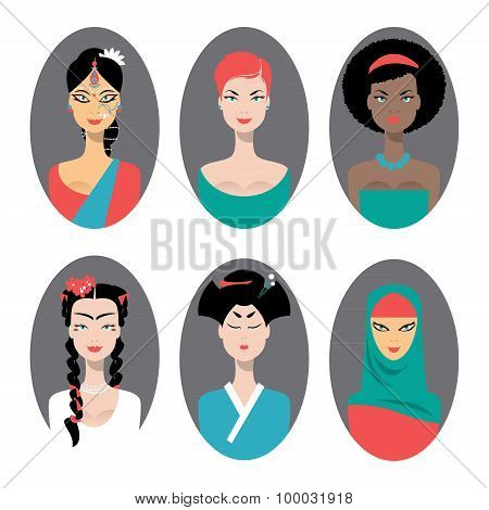 Ethnically/ Racially /religiously Diverse Women. Set Of Icons.