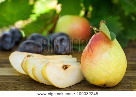 Pears, plums and apples