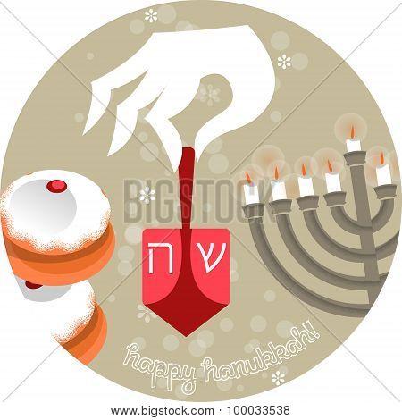 Happy Hanukkah. Jewish Holiday. Greeting Card.