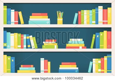 Bookcase Shelves with Books of Different Size and Color