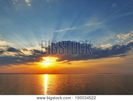 sunset on the sea.