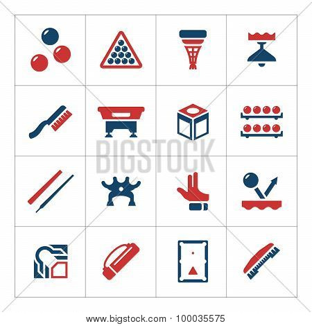 Set Color Icons Of Billiards, Snooker And Pool
