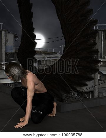 Male Urban Guardian Angel, Kneeling