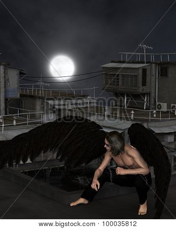 Male Urban Guardian Angel, Crouching
