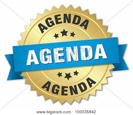 Agenda 3D Gold Badge With Blue Ribbon