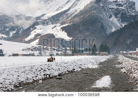 Horse And Sleigh Scene - Austria