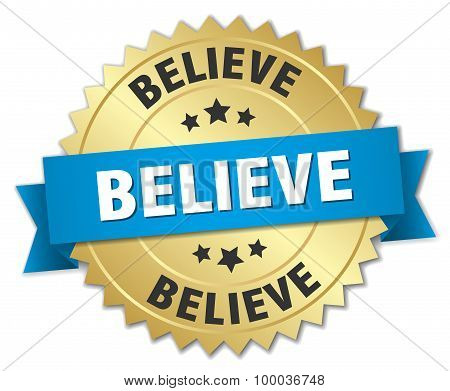 Believe 3D Gold Badge With Blue Ribbon