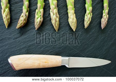 Green Asparagus On Slate Platter