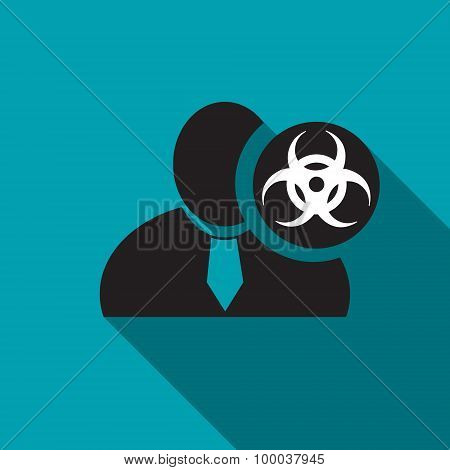 Biohazard Black Man Silhouette Icon On The Blue Background, Long Shadow Flat Design Icon For Forums