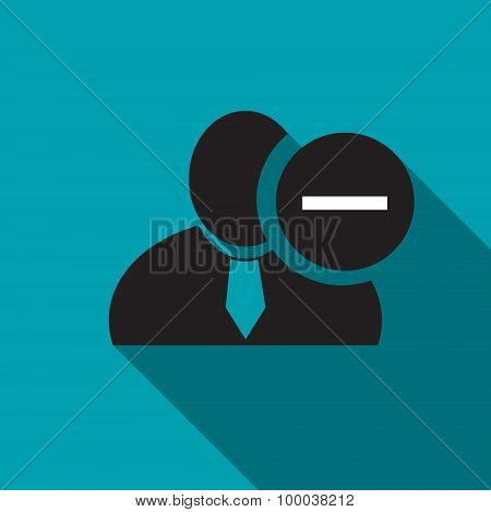 Minus Sign Black Man Silhouette Icon On The Blue Background, Long Shadow Flat Design Icon For Forums