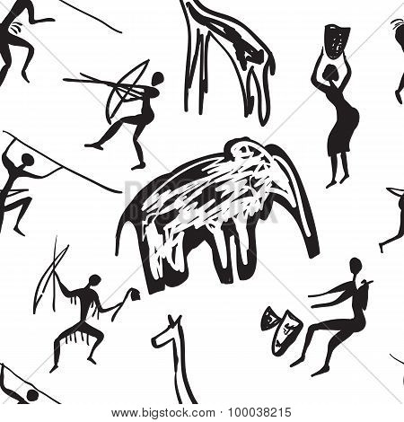seamless pattern of rock paintings
