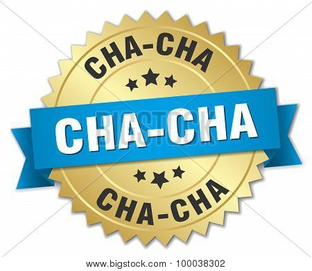 Cha-cha 3D Gold Badge With Blue Ribbon