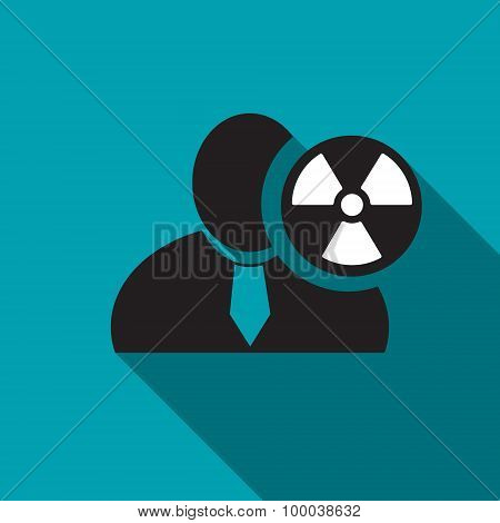 Radioactivity Black Man Silhouette Icon On The Blue Background, Long Shadow Flat Design Icon For For