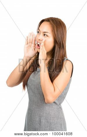 Profile Asian Girl Hands Cupped Around Mouth Away