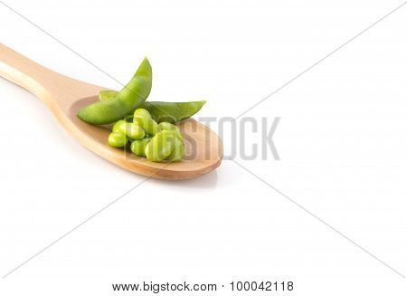 Green Soya , Wooden Spoon On White Background.