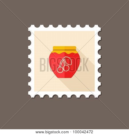 Cherry Jam Jar Flat Stamp With Long Shadow