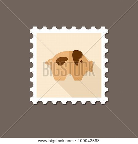 Pig Flat Stamp With Long Shadow