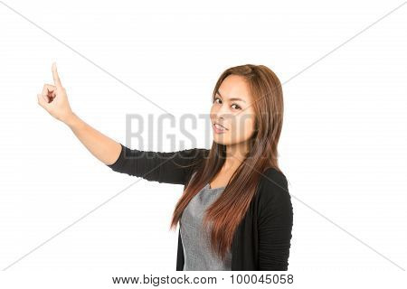 Side Profile Asian Woman Pressing Looking At Half