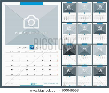 Wall Monthly Calendar For 2016 Year. Vector Design Print Template With Place For Photo. Week Starts