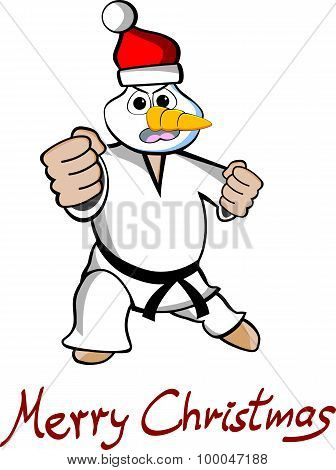 Taekwondo Snowman Merry Christmas