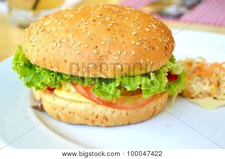 Tasty burger with meat, salad and tomato