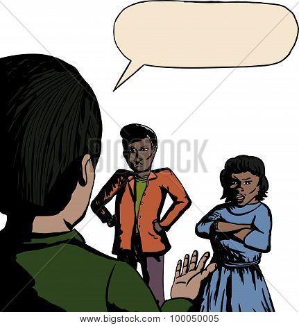 Three People Arguing