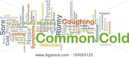 Background concept wordcloud illustration of common cold