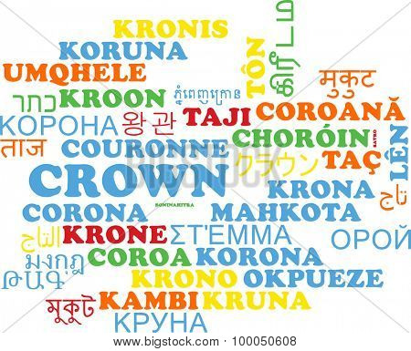 Background concept wordcloud multilanguage international many language illustration of crown