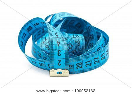 Photo blue folded measuring tape, cm