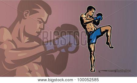Kick-boxer in a pose. Sport logostyle