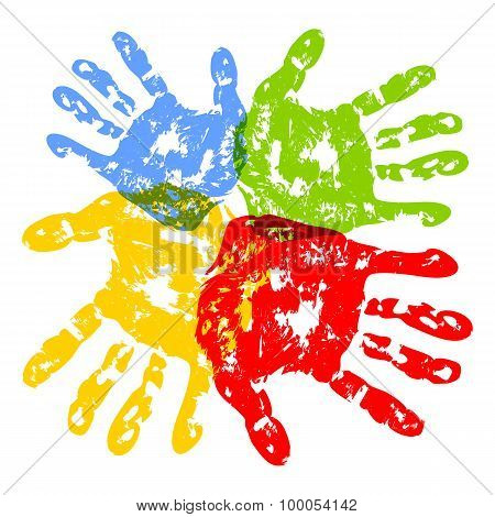Prints of childrens hands