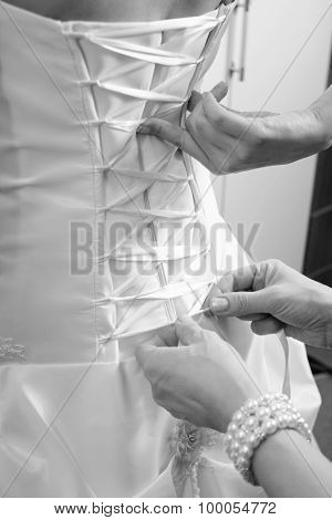 Hands Of Bridesmaid Tying Bow On Wedding Dress
