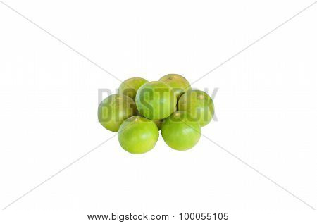 Isolated Scene Of Seven Lemon And Decorate As Circle With Withe Background