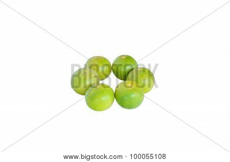Isolated Scene Of Six Lemons And Decorate As Circle With Withe Background