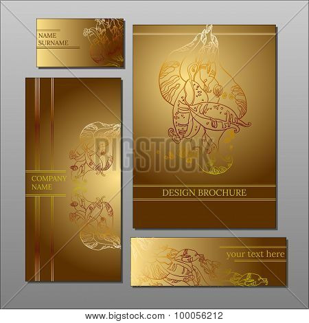 Abstract Floral Sepia Design Cards And Brochure Collection