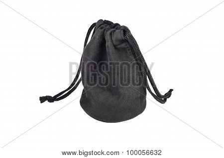 Isolated Scene Of Flexible Black Pouch With White Background