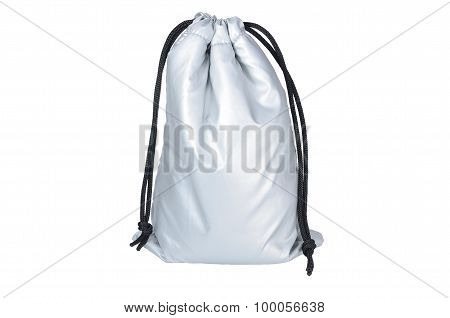 Isolated Picture Of Flexible Silver Pouch With White Background