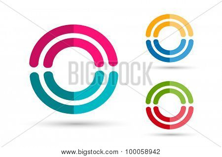 Technology orbit web rings logo. Vector circle ring logo design. Abstract flow logo template. Round ring shape and infinity loop symbol, technology icon, thin line logo. Company logo. Together logo.