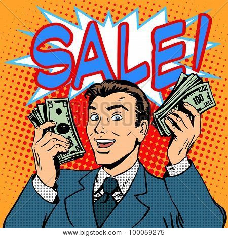 Sale announcement business concept businessman with money