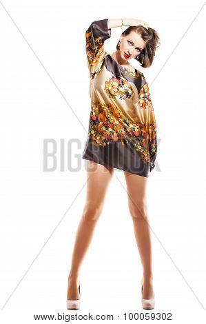 Beautiful Woman With Long Legs Posing At The Camera