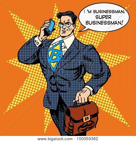 super businessman answering phone call