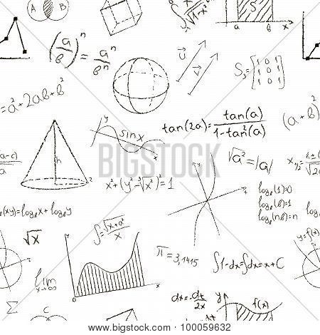 Chalk drawing effect. Math formulas and graphs on white background. Seamless pattern. Vector illustr
