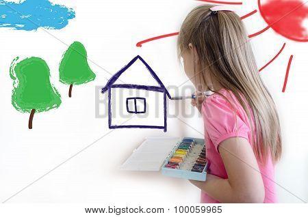 The Girl Draws On A Light Wall