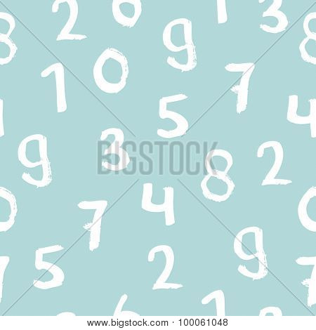 Seamless basic numbers back to school math theme for kids ink illustration background pattern in vector