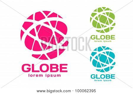 Abstract earth logo. Globe logo icon