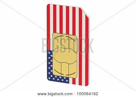 Sim Card With Flag Of  Usa