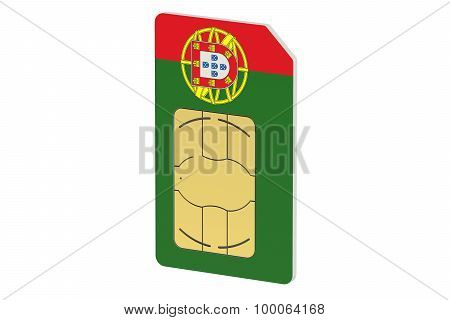 Sim Card With Flag Of Portugal