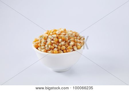 maize corn in a white bowl